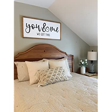 bawansign You Me We got This Farmhouse Style Sign Over The Bed Wood Sign Framed Wall Decor Inspirational Wood Sign