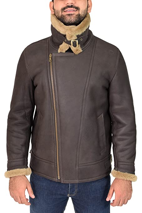Amazon.com: Mens Real Sheepskin Leather Jacket Ginger Shearling B3 Bomber Pilot Coat - Danny: Clothing