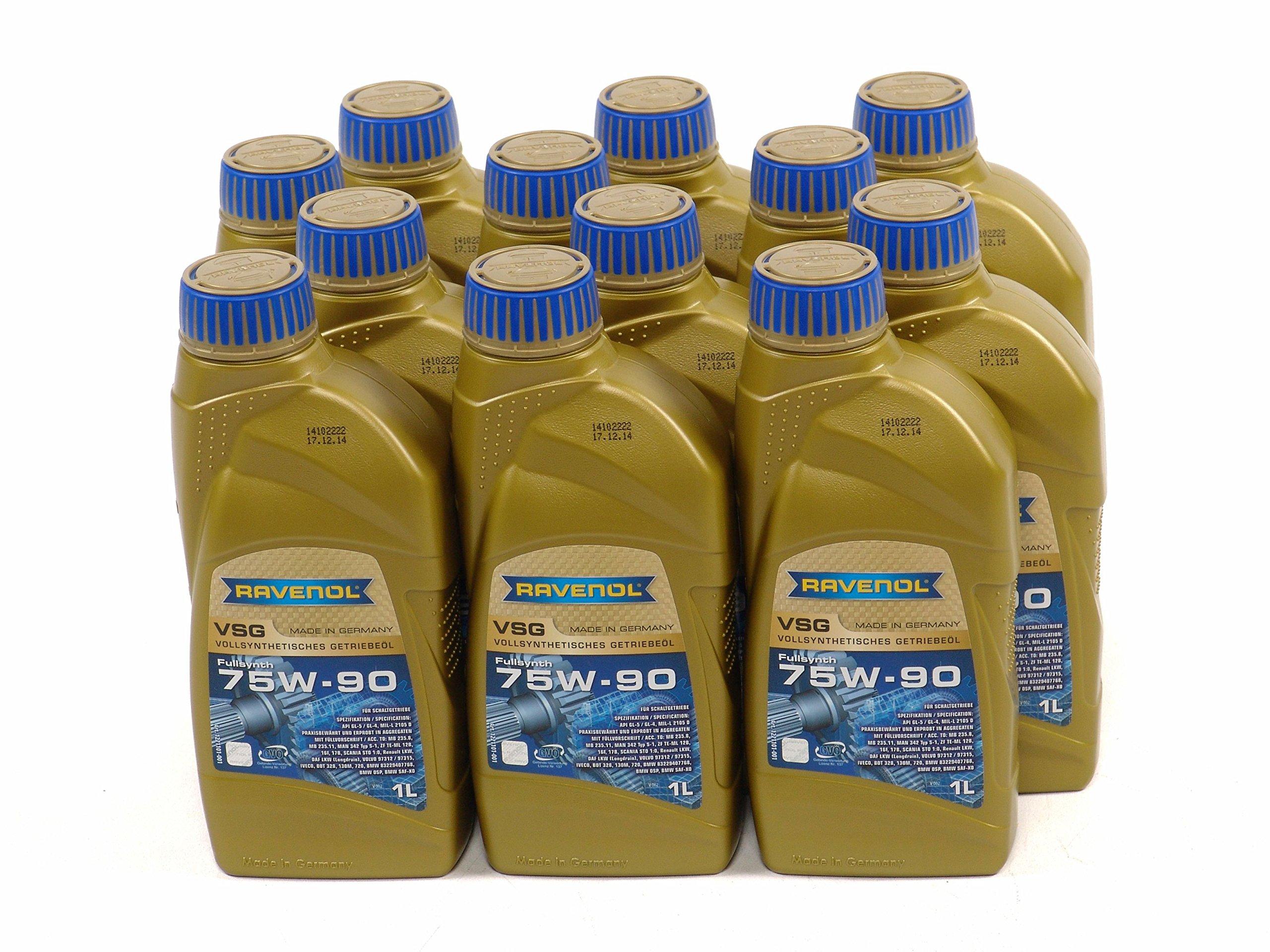 RAVENOL J1C1109-12 SAE 75W-90 Gear Oil - VSG Full Synthetic API GL-4 / GL-5 Spec (1L, Case of 12) by Ravenol