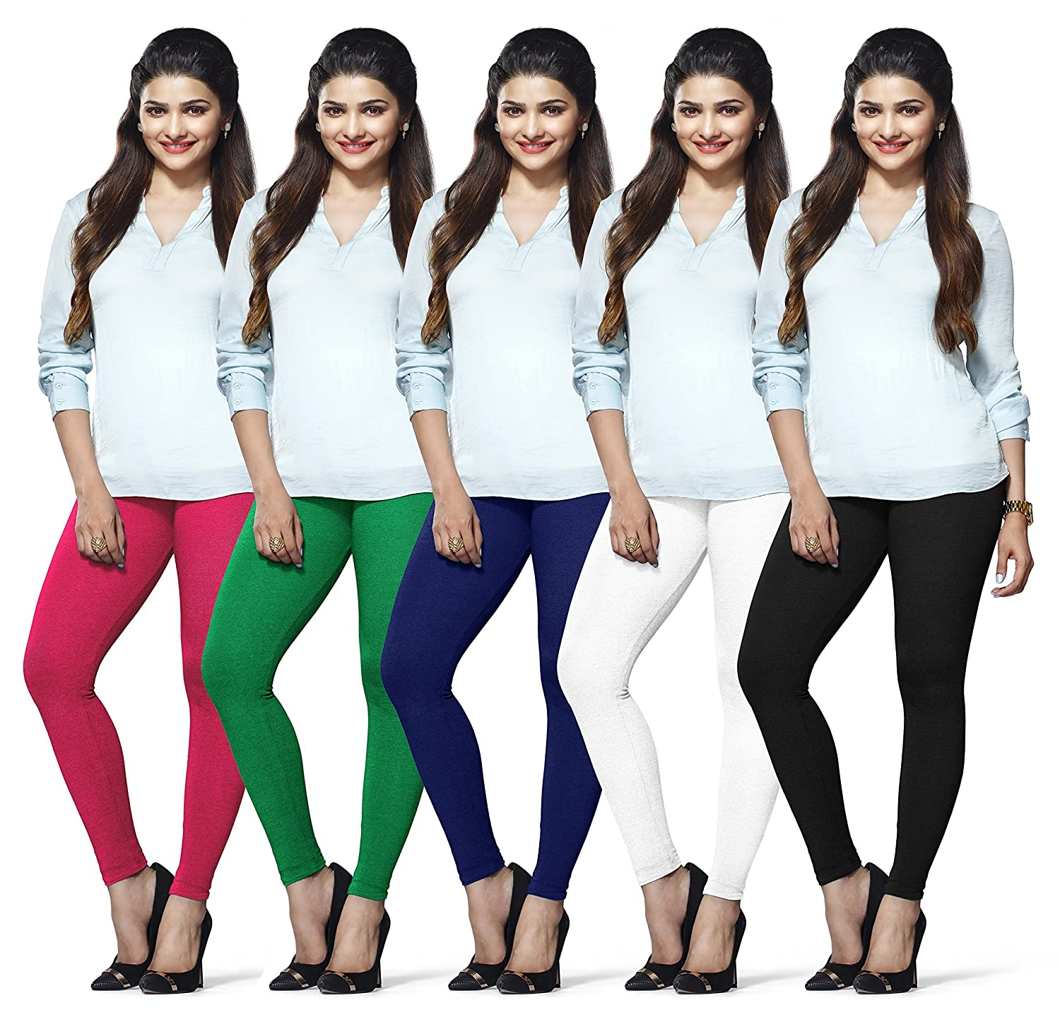 Lux Lyra Ankle Length Leggings, Pack of 5