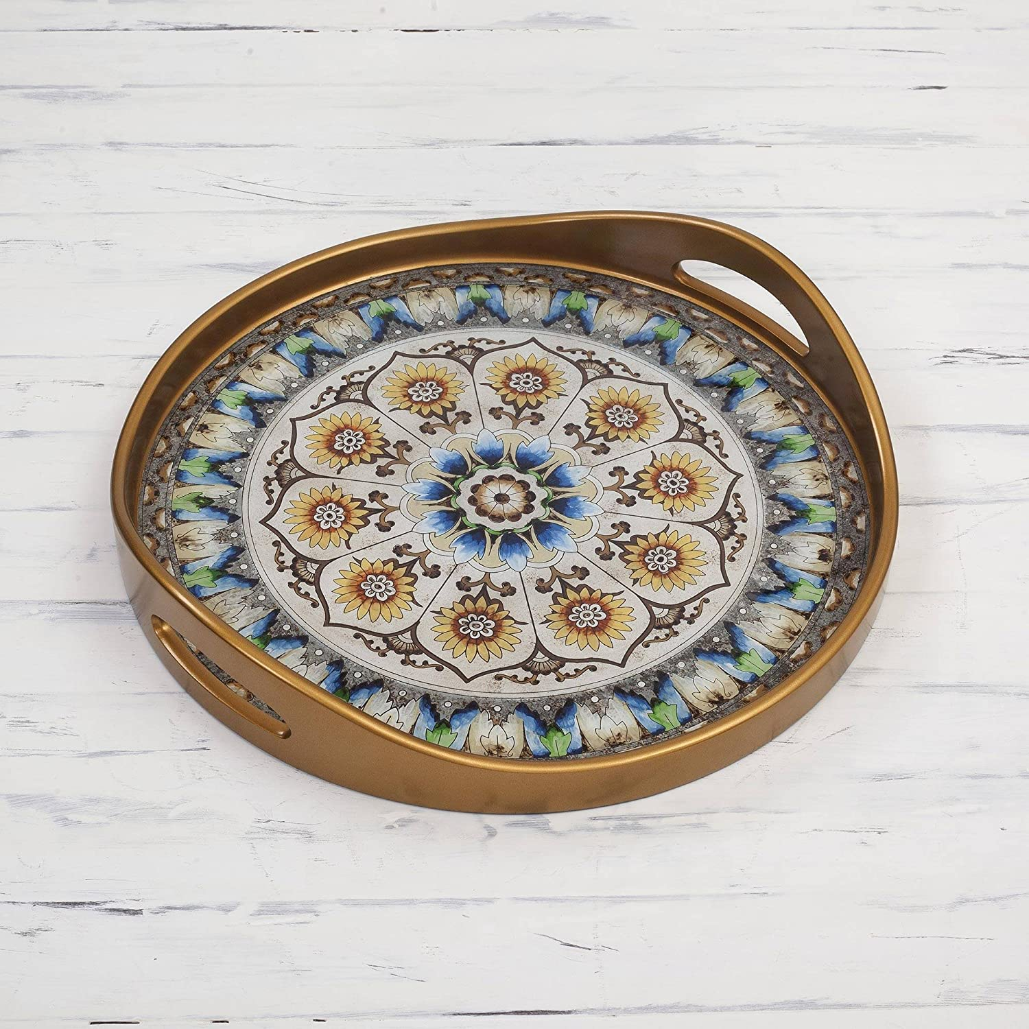 Blue Andean Mandala NOVICA Blue and White Reverse Painted Glass Round Tray