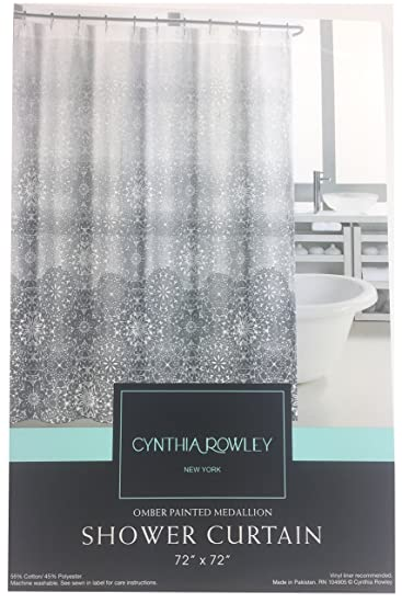 Cynthia Rowley Ombre Painted Medallion Fabric Shower Curtain Grey White
