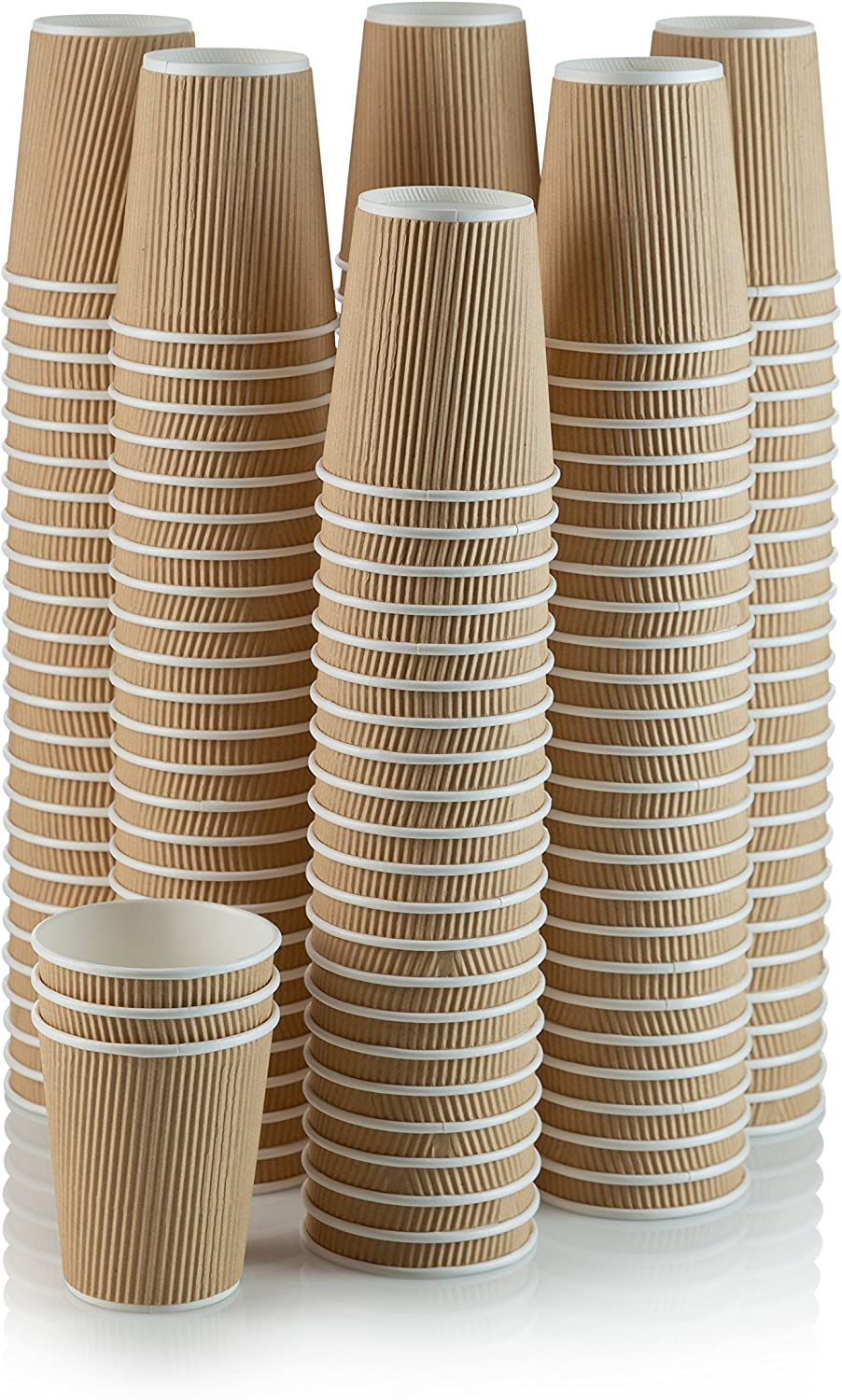 Set of 150 Ripple Insulated Kraft 12-oz Paper Cups – Coffee/Tea Hot Cups | Recyclable |3-Layer Rippled Wall For Better Insulation | Perfect for Cappuccino, Hot Cocoa, or Iced Drinks