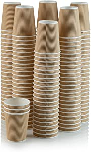 Set of 150 Ripple Insulated Kraft 10-oz Paper Cups – Coffee/Tea Hot Cups | Recyclable |3-Layer Rippled Wall For Better Insulation | Perfect for Cappuccino, Hot Cocoa, or Iced Drinks