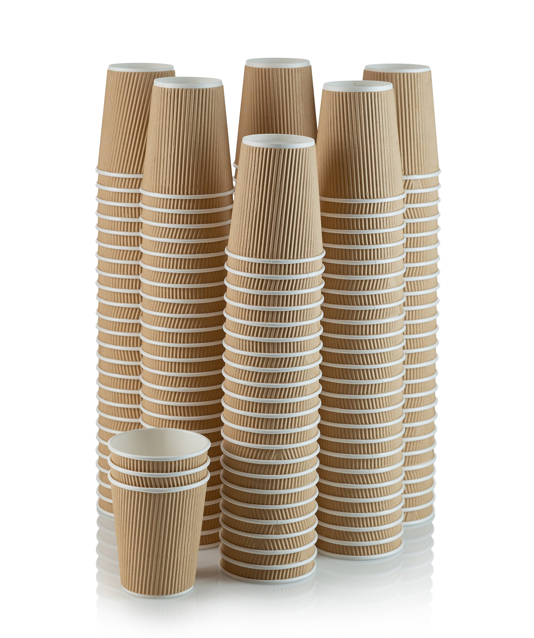 Set of 150 Ripple Insulated Kraft 8-oz Paper Cups - Coffee/Tea Hot Cups |3-Layer Rippled Wall For Better Insulation | Perfect for Cappuccino, Hot Cocoa, or Iced Drinks by NYHI