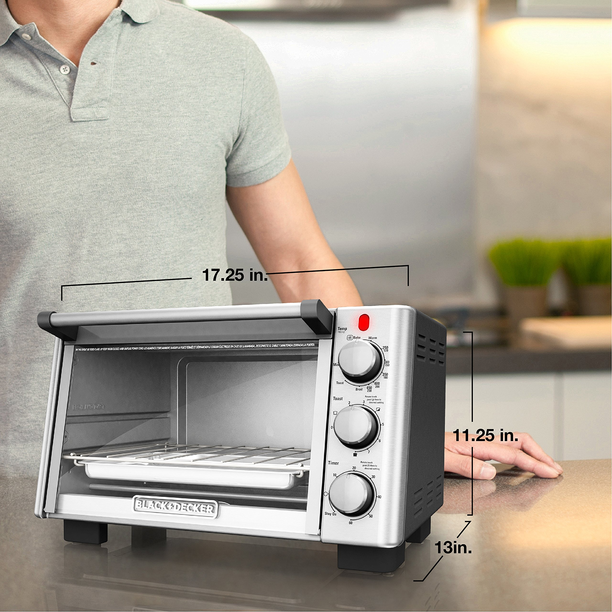BLACK+DECKER 6-Slice Convection Countertop Toaster Oven, Stainless Steel/Black, TO2050S by BLACK+DECKER (Image #7)