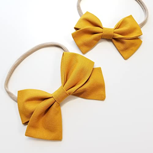 Handmade Baby Girl Bow newborn headband baby bow Alligator clip Solid  Mustard Nylon Headband or Hair Clip newborn headband baby bow mustard baby  hair clip ... 884d463bbac