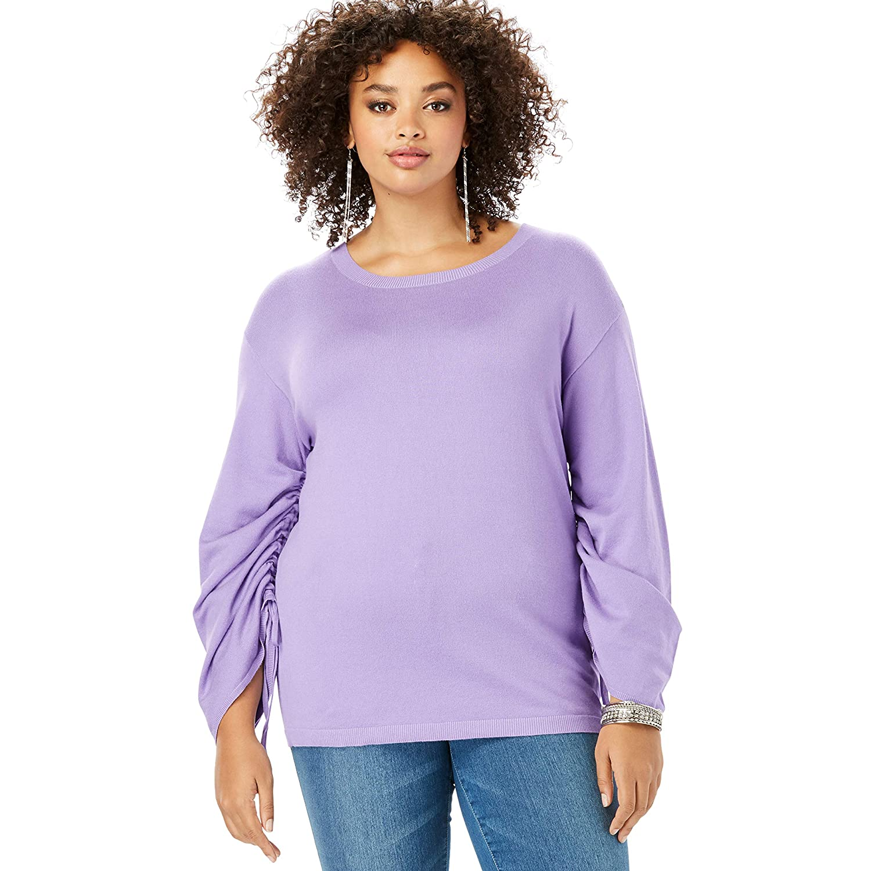 Roamans Womens Plus Size Drawstring Bell-Sleeve Sweater