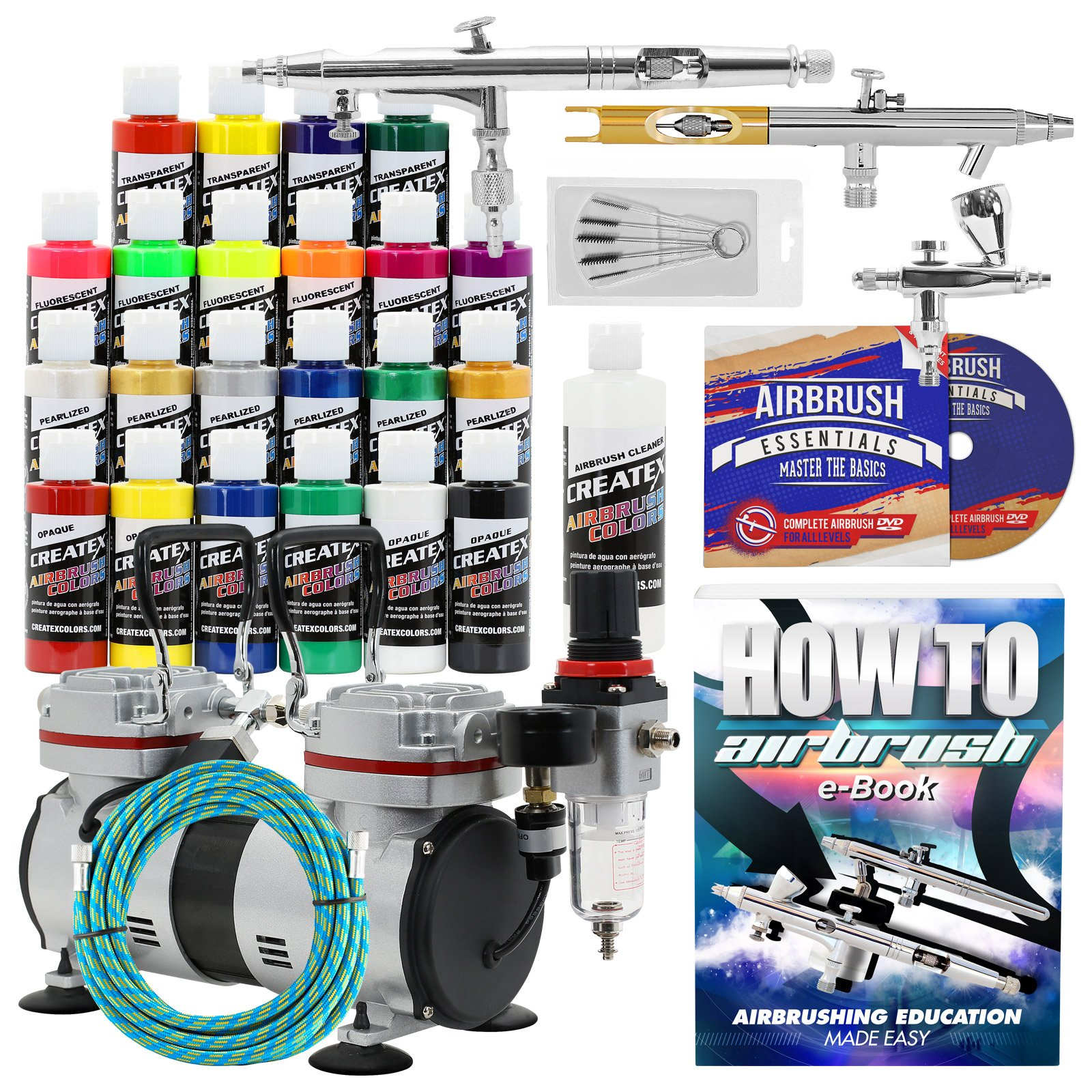 PointZero Multi-purpose 3 Airbrush Kit w/ Compressor and Createx Colors Set of 22 Paints