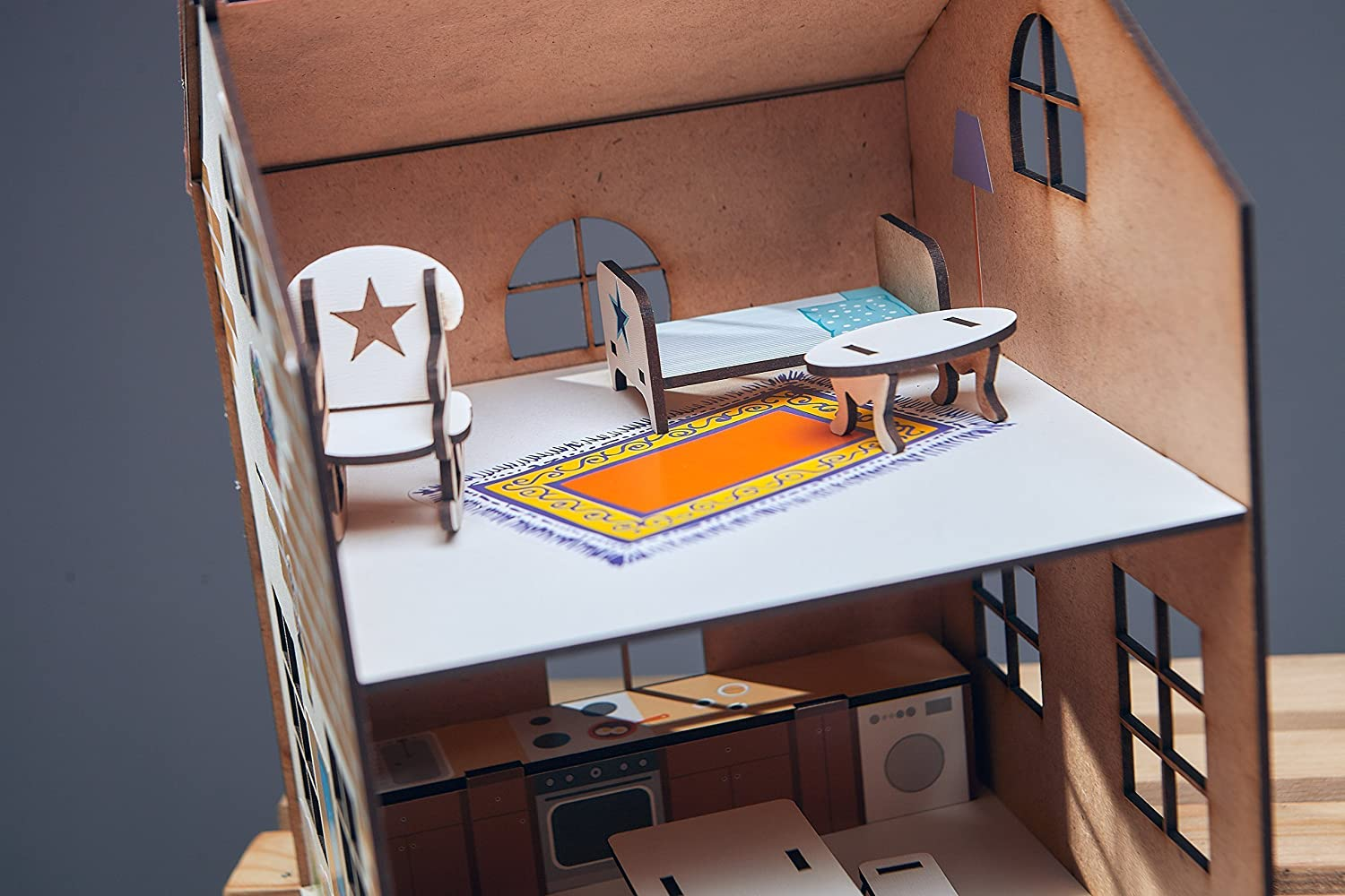 wooden toy 3d puzzles eco-friendly Dollhouse with furniture