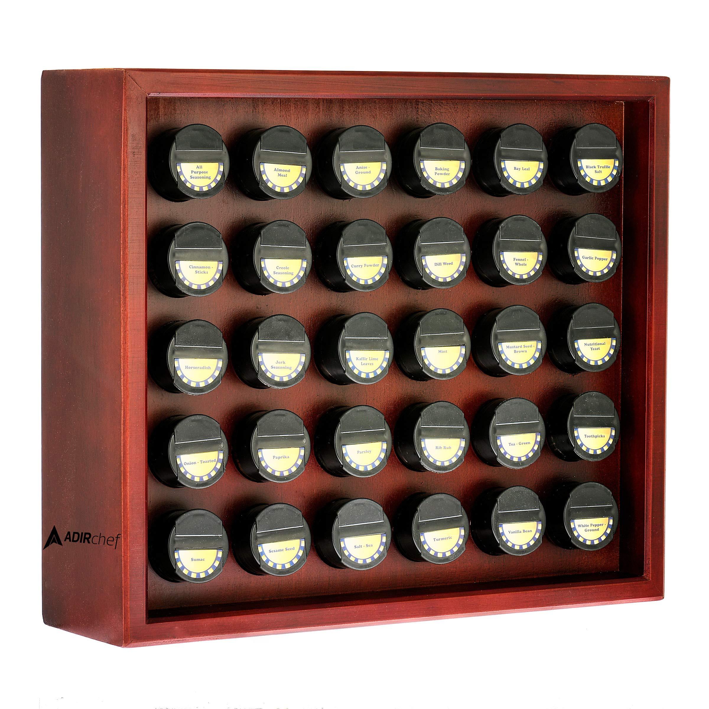 AdirChef Wooden Spice Rack - Stand Alone Classic Wooden Spice Organizer for Home & Kitchen (Cherry) (14'' x 16'') by AdirChef