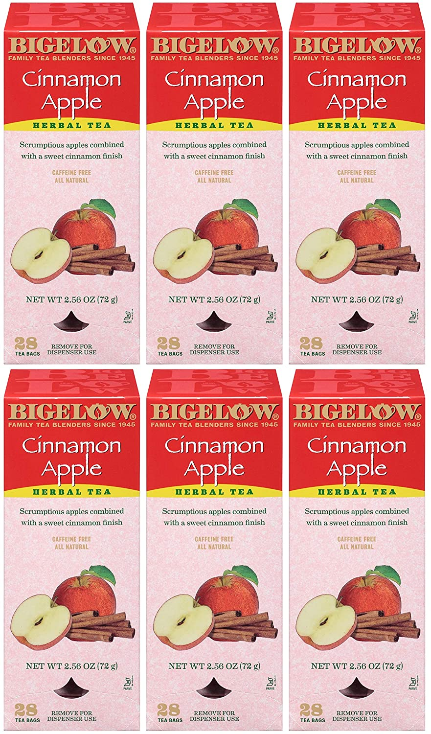 Bigelow Cinnamon Apple Herbal Tea Bags 28-Count Boxes (Pack of 6) Cinnamon Apple Hibiscus Flavored Herbal Tea Bags All Natural Non-GMO