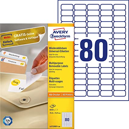 Avery - Etiquetas universales (35,6 x 16,9 mm, para todas las impresoras A4), 8000 unidades, color blanco