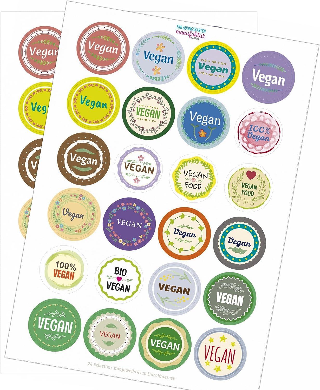 Manufaktur f/ür Ihre individuellen Produkte 48 x bunte Design Etiketten VEGAN im Mix Aufkleber Sticker im Set Hotel Buffet