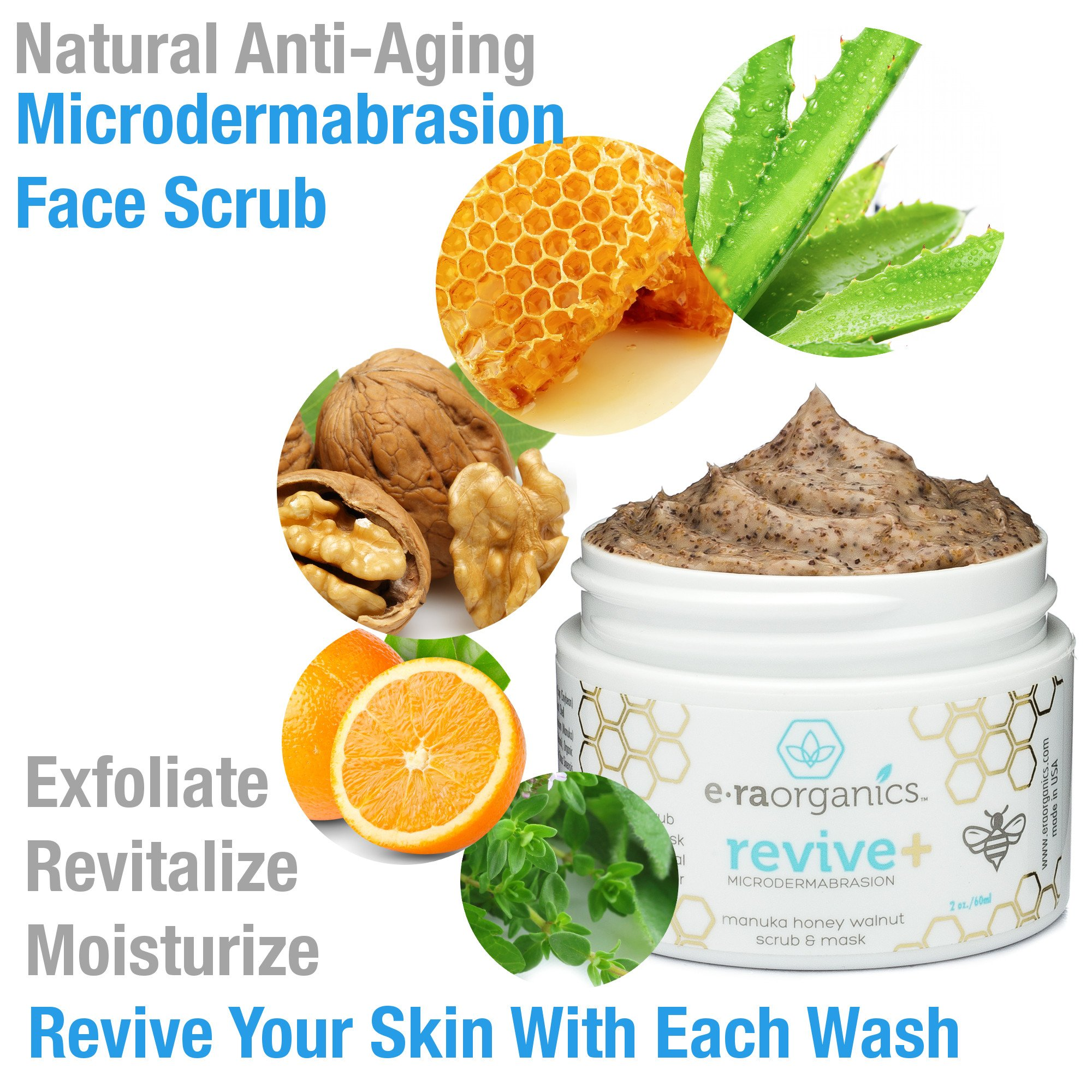 Microdermabrasion Facial Scrub & Face Exfoliator - Natural Exfoliating Face Mask with Manuka Honey & Walnut - Moisturizing Facial Exfoliant for Dull Dry Skin, Wrinkles, Acne Scars & More 2.0oz/56.6g by Era Organics (Image #2)