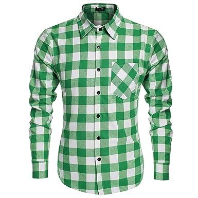 5349c8267ad7 Coofandy Herren Hemd Kurzarm Freizeit Kariert Hemden Slim Fit Kurzarmhemd  Shirt  Amazon.de  Bekleidung