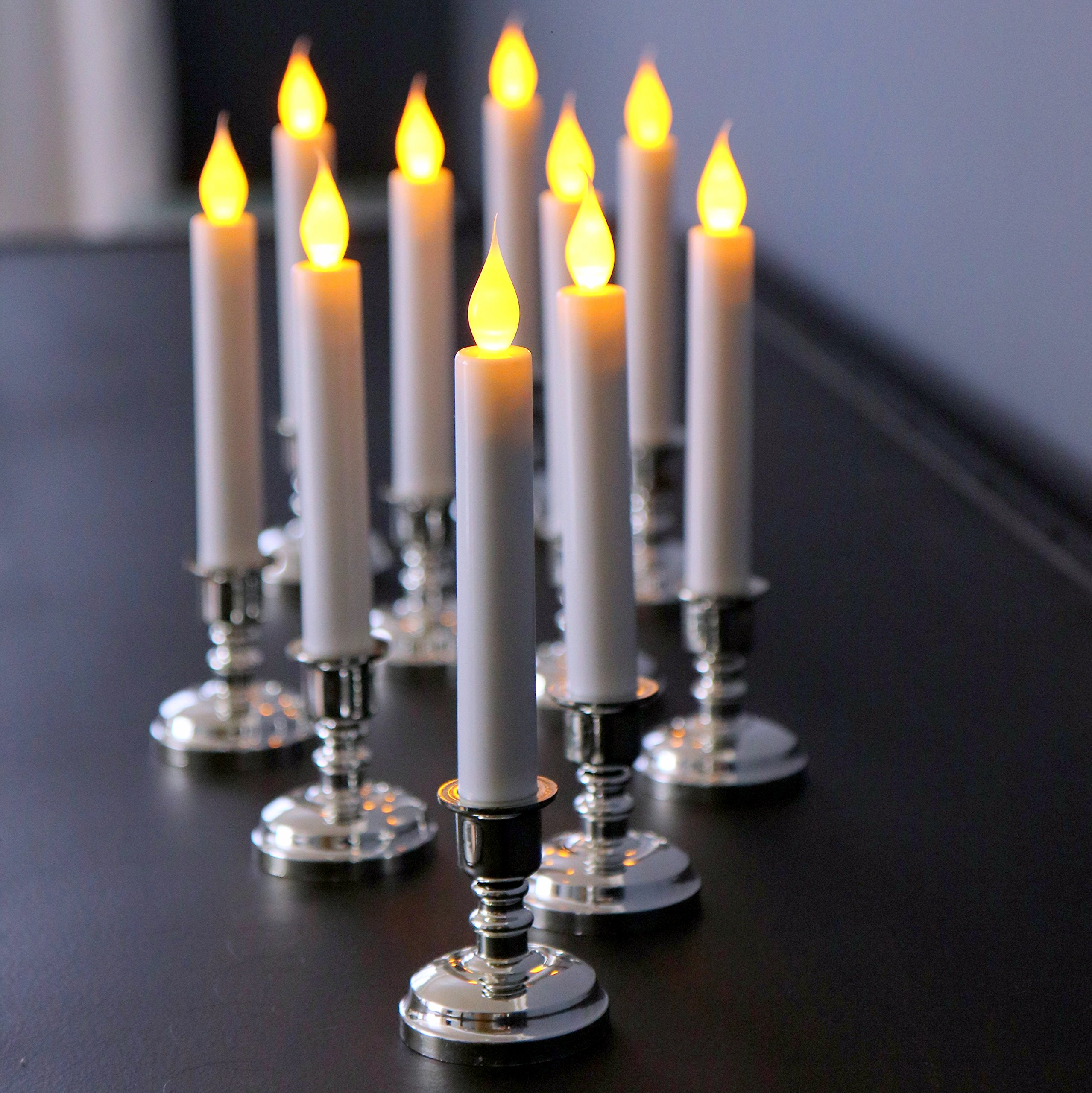 Set of 10 Flameless White Taper Window Candles with Removable Silver Candleholders with Timer and Remote, Batteries Included by Enchanted Spaces (Image #9)