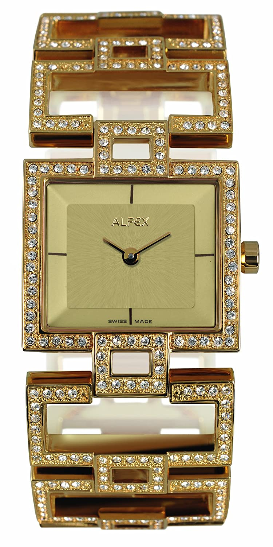 Alfex – 5685 _ 817 Damen-Armbanduhr 045J699 Analog beige Armband Stahl vergoldet Gold