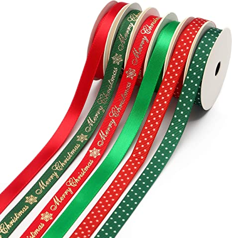 """5 Yds Christmas Red White Green Grosgrain Ribbon 3//8/""""W"""