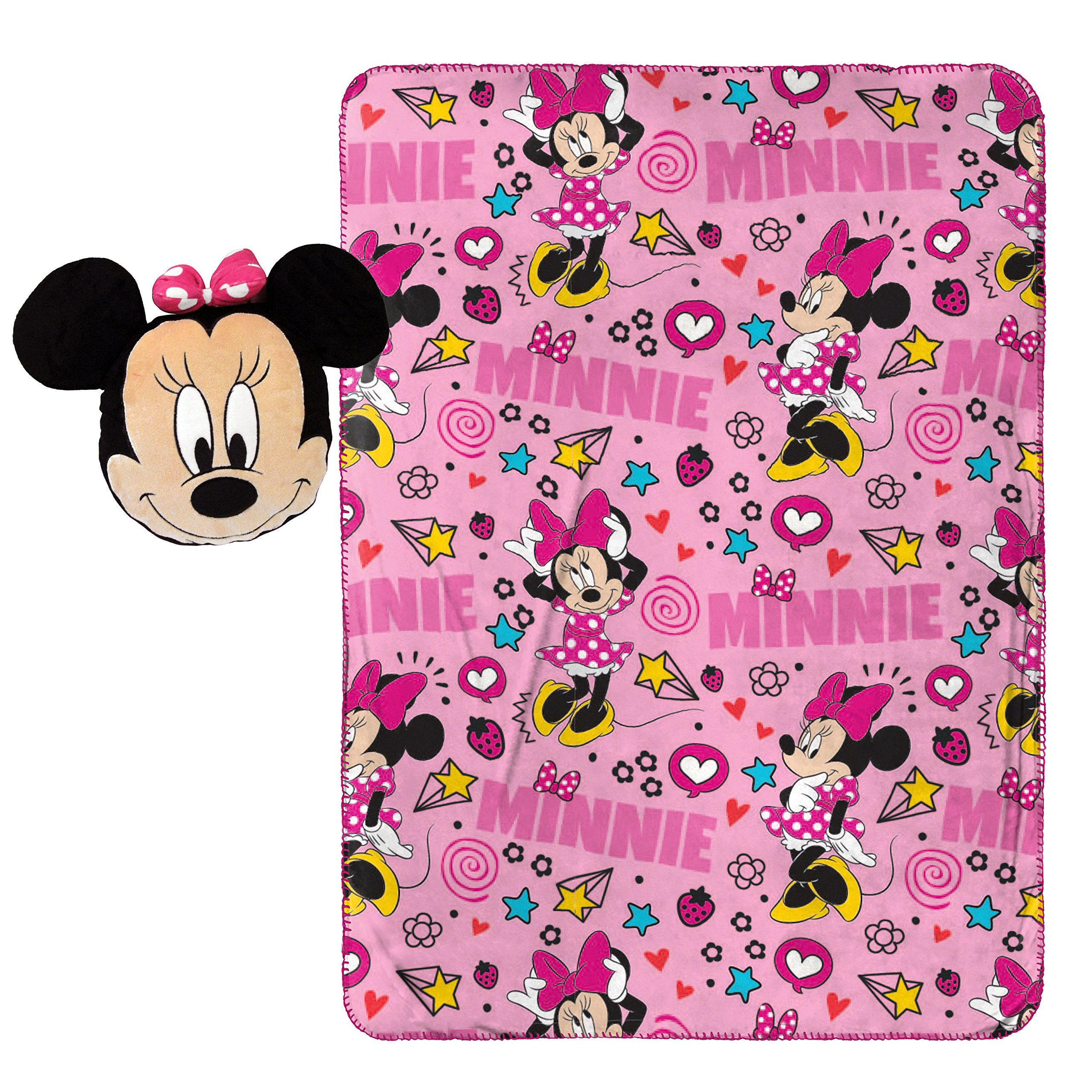 Disney Minnie Mouse Doodle Nogginz Pillow with 40'' x 50'' Travel Blanket Set by Disney (Image #1)