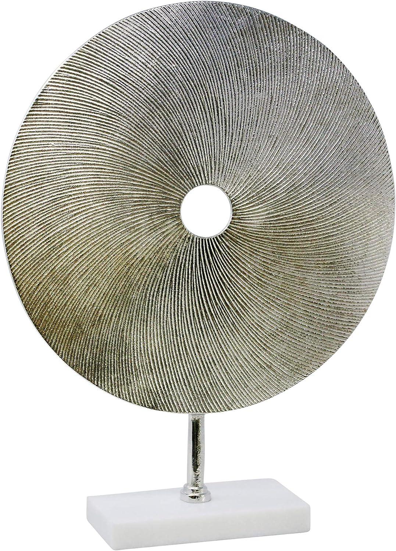 "Sagebrook Home, Silver Metal Disk Sculpture On Stand, 17.5"" x 4"" x 22"""