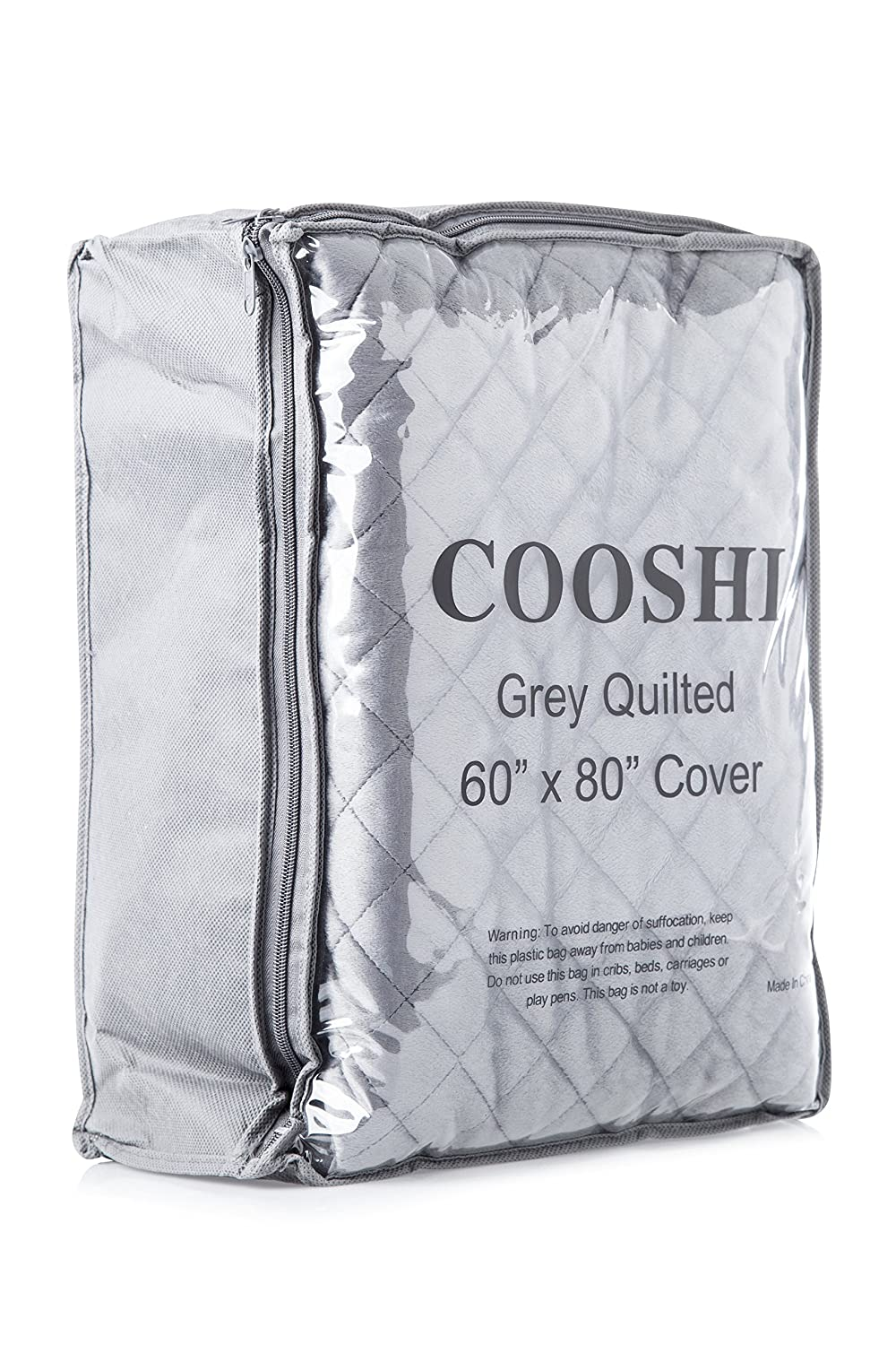 Cooshi Duvet Cover for Weighted Blankets - 60 x 80 - Soft Minky Dot - Grey