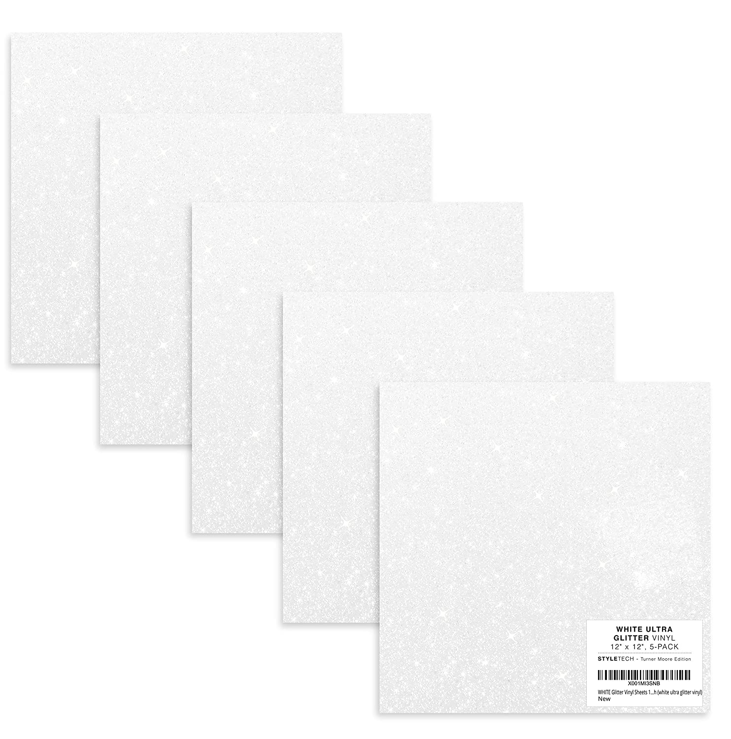 Amazon Com White Glitter Vinyl 12 X 12 Sheets Self Adhesive Glitter Vinyl For Cricut Maker Explore Silhouette Cameo Crafts Stickers Decals Tumblers Bottles Bonus Exclusive Sample By Turner Moore 5pk Industrial