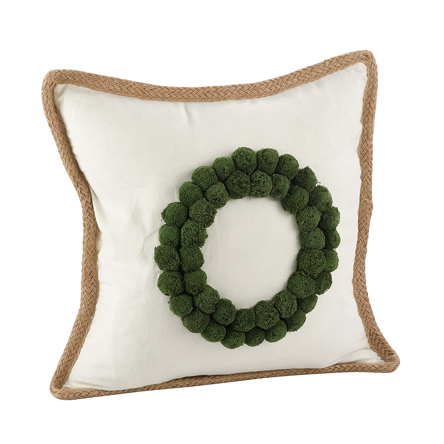 SARO LIFESTYLE Filled Ricamato Design Pillow, 18', Circle