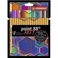 Caneta Hidrográfica Stabilo Point 88 Arty, Estojo com 18 cores