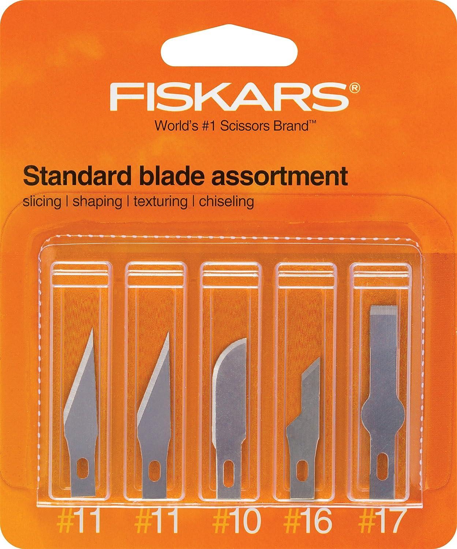 Fiskars 164190-1001 Standard Assortment Blades(2 Number.11,1 Number.10, 1 Number.16, 1 Number.17), 5 Pack Fiskars School Office and Craft Division