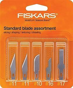 Fiskars 164190-1001 Standard Assortment Blades(2 Number.11,1 Number.10, 1 Number.16, 1 Number.17), 5 Pack