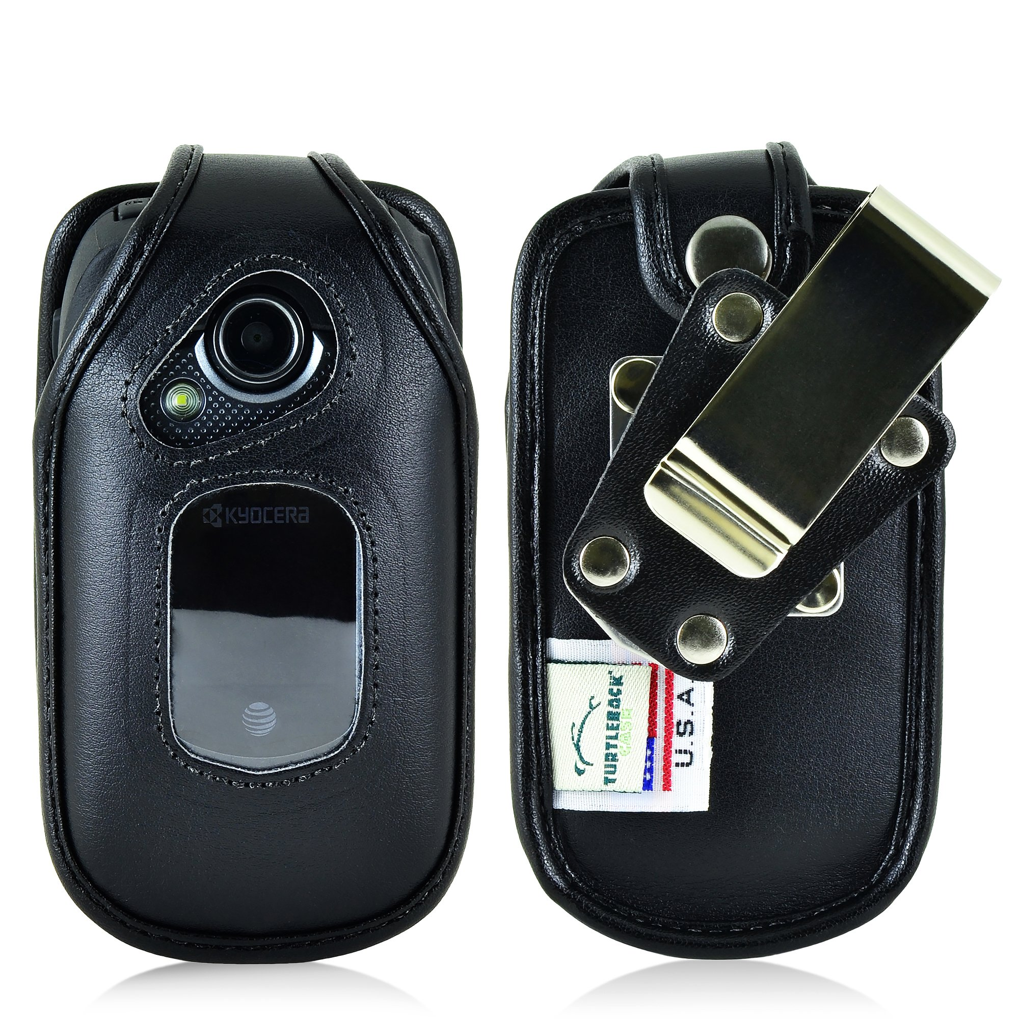 Turtleback Fitted Case Compatible with Kyocera DuraXE Flip Phone Holster Black Leather Rotating Heavy Duty Removable Metal Belt Clip Made in USA