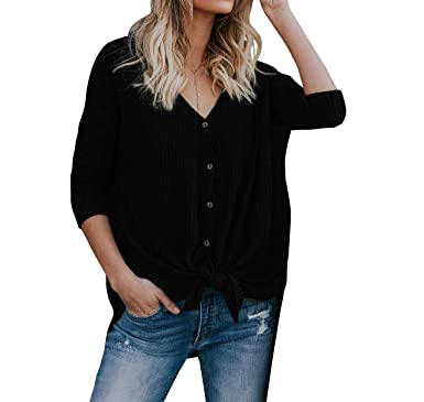 Imily Bela Womens Waffle Knit Tunic Blouse Tie Knot Henley Tops Bat Wing  Plain Shirts Black c0355ea88