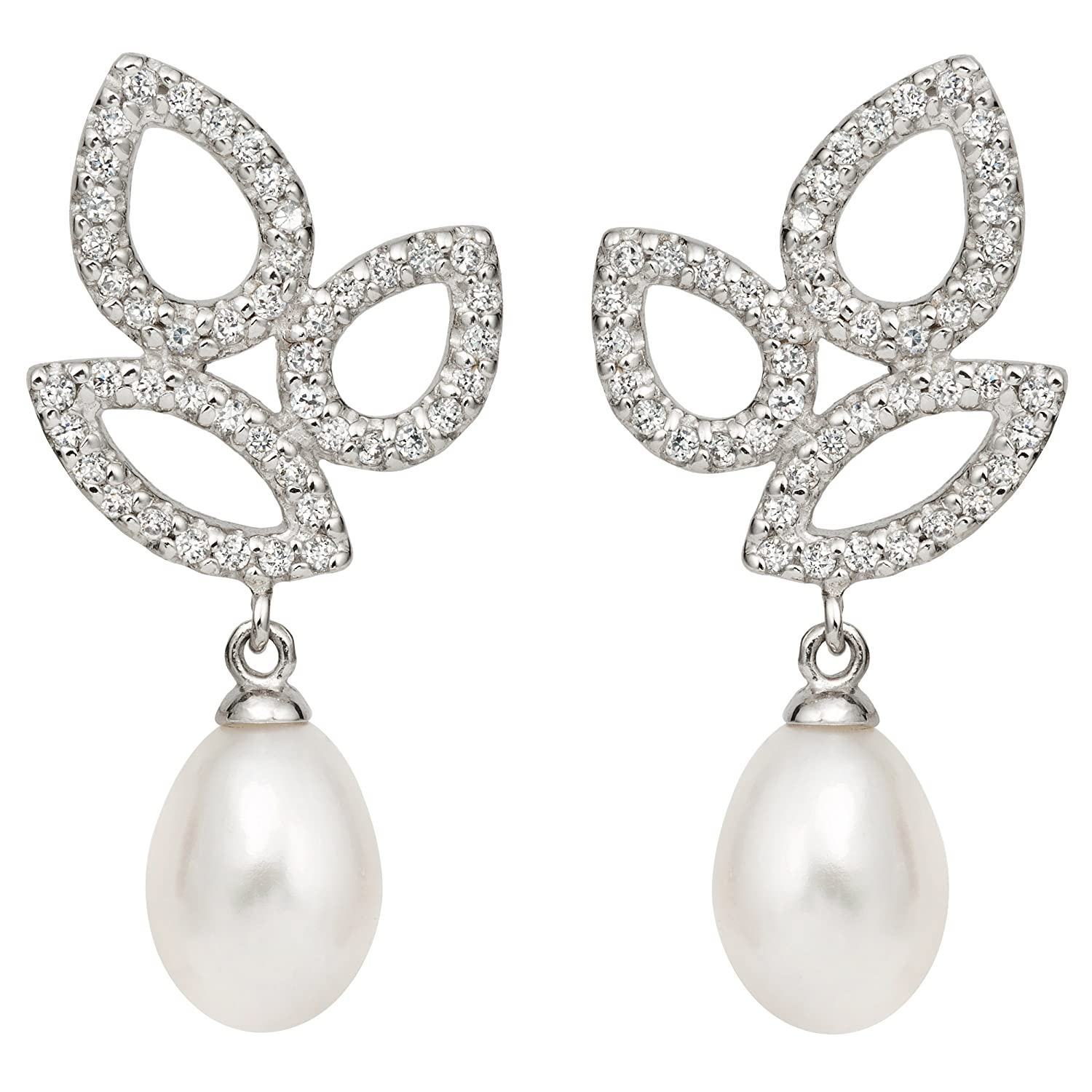 Sterling Silver Freshwater Cultured Pearl and Cubic Zirconia Drop Earrings (10-11mm) – Graduation Gift