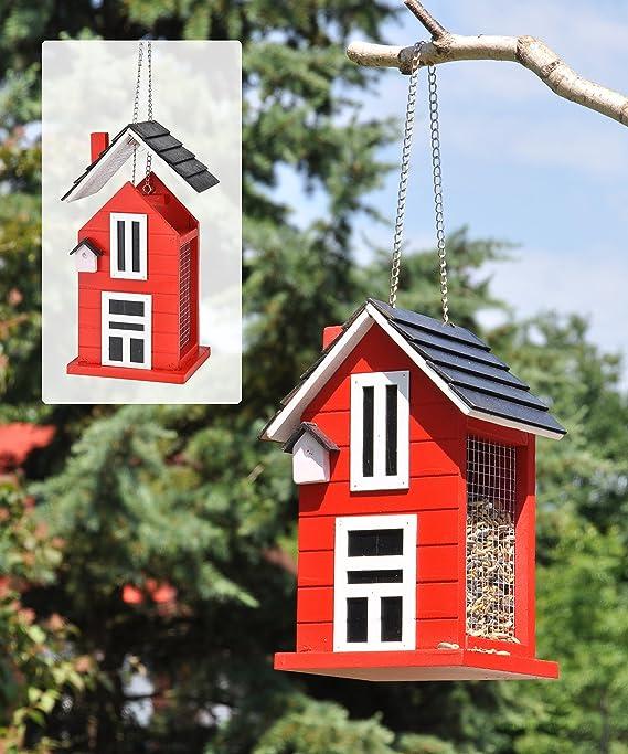 Jardinion Futterspender Design Vogelhaus Holz Vogelfutter Station rot Hänge