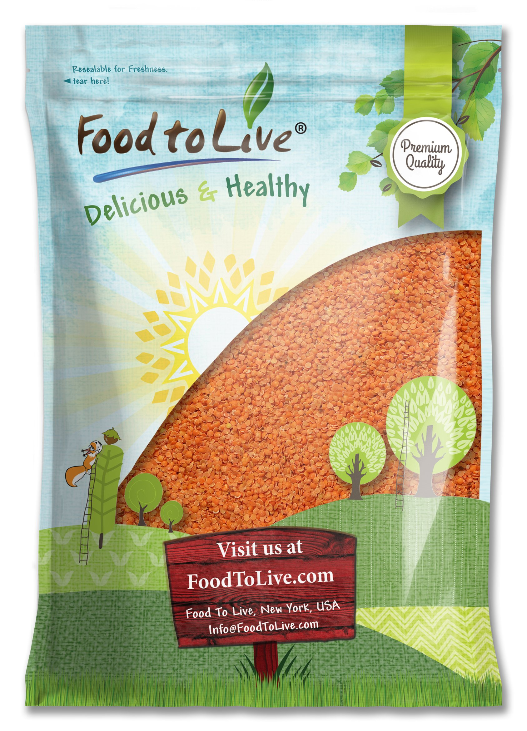 Red Split Lentils by Food to Live (Dry Beans, Raw, Kosher, Bulk) — 15 Pounds by Food to Live