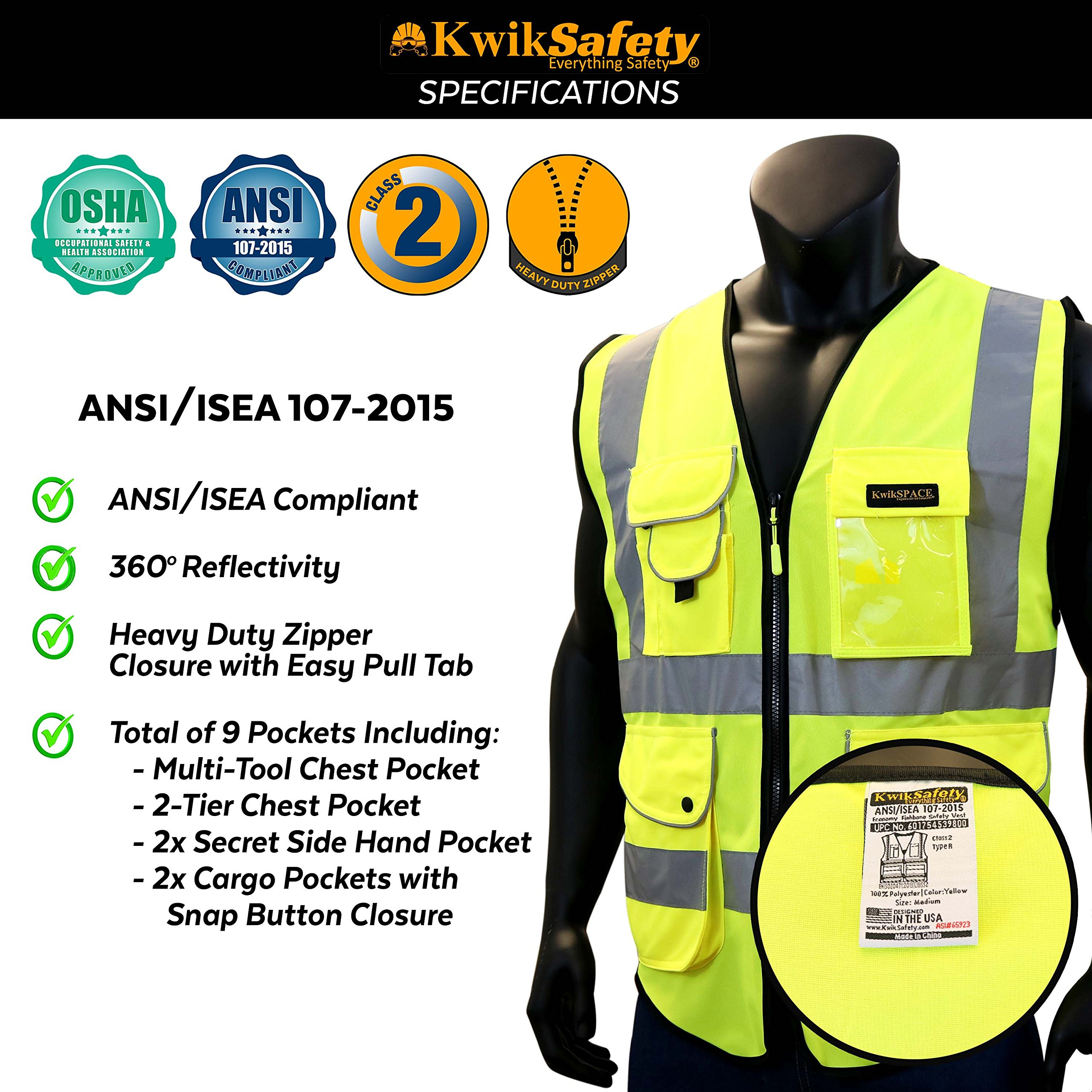 KwikSafety (Charlotte, NC) SUPERIOR (9 Pockets) Class 2 ANSI High Visibility Reflective Safety Vest Heavy Duty Mesh Zipper and Hi Vis Construction Surveying Engineering Work HiViz Men Yellow XX-Large by KwikSafety (Image #6)