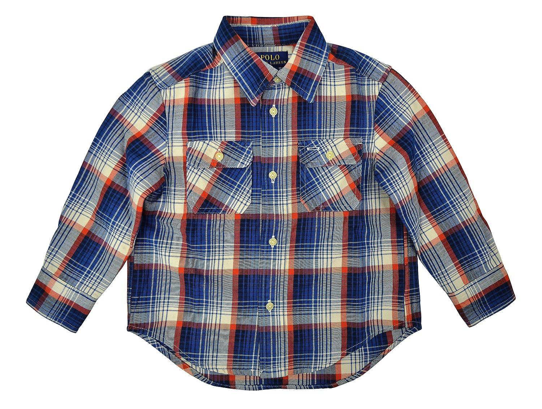 Polo Ralph Lauren Boys Long Sleeve Flannel Button Down Shirt Blue /& Orange Plaid 2T Toddlers
