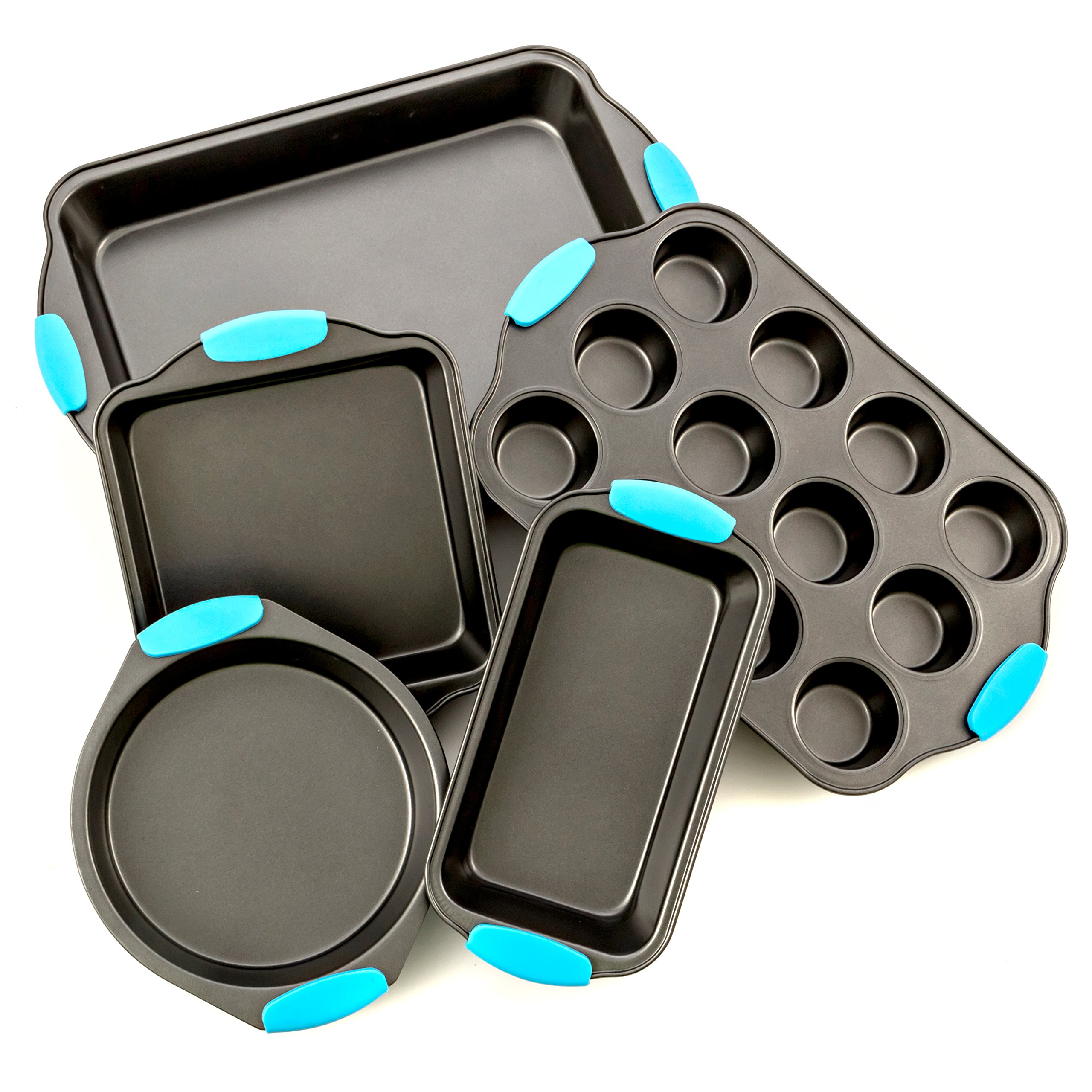Bakeware Set -Premium Nonstick Baking Pans -Set of 5- Includes a Pie Pan, Square Cake Pan, Baking Pan, Bread Pan, Cup Cake Pan with Blue Silicone Hnadles By Intriom
