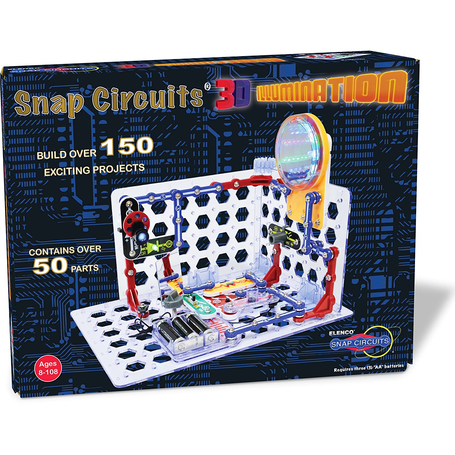 Amazon.com: Snap Circuits 3D Illumination Electronics Exploration Kit |  Over 150 STEM Projects | 4-Color Project Manual | 50+ Snap Modules |  Unlimited Fun: ...