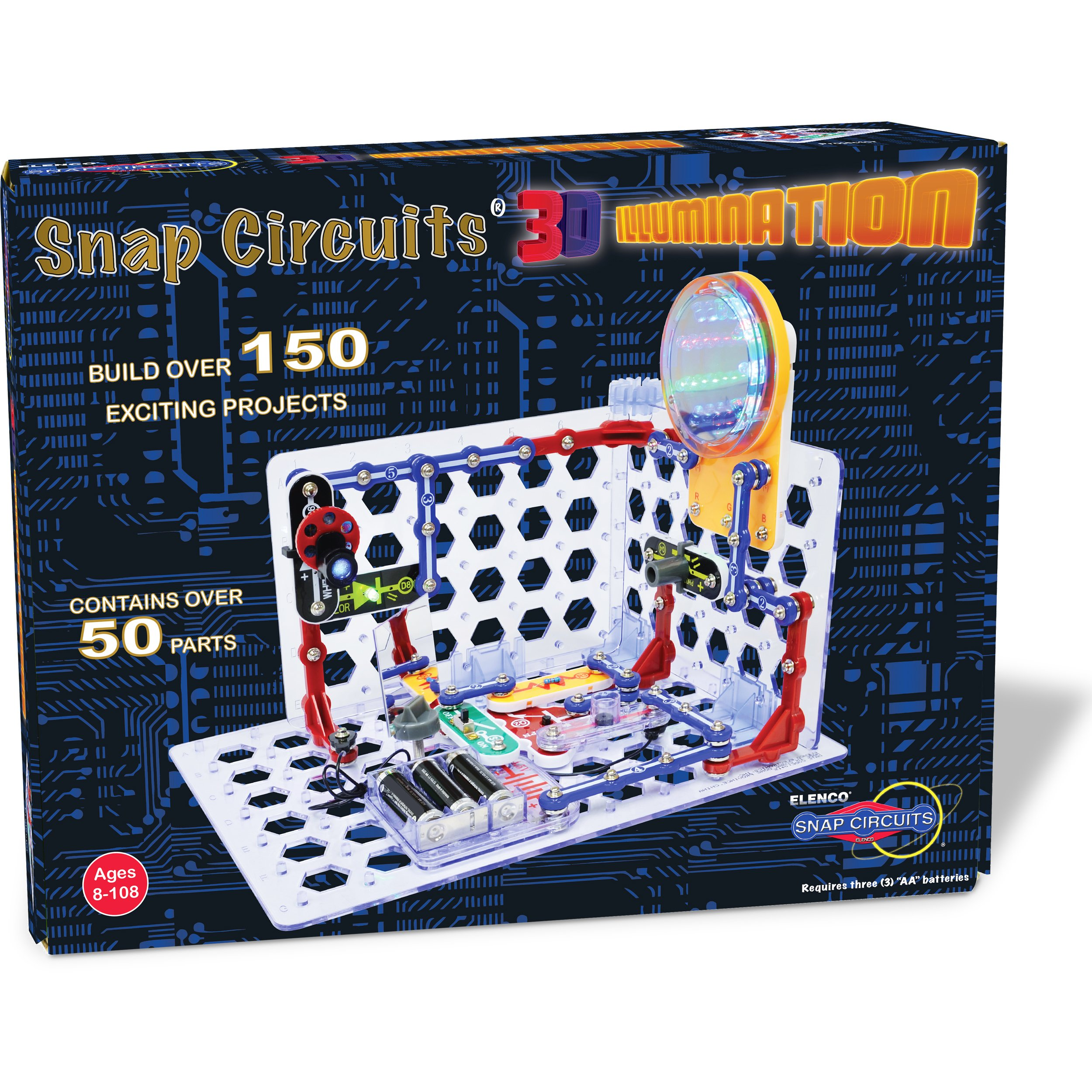 Snap Circuits 3D Illumination Electronics Exploration Kit | Over 150 STEM Projects | Full Color Project Manual | 50+ Snap Circuits Parts | STEM Educational Toys for Kids 8+ by Snap Circuits