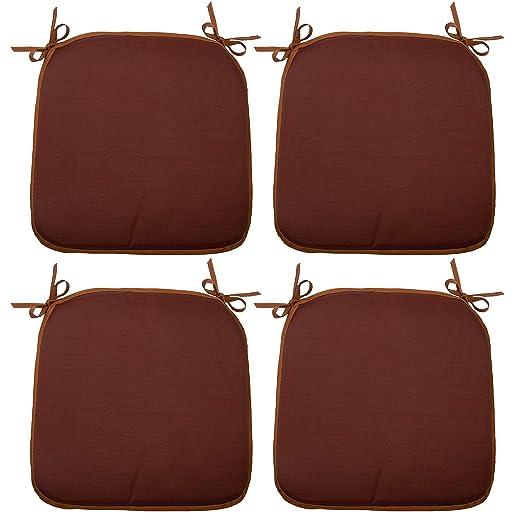 ZOLLNER 4 Cojines para Silla, 38x38 cm, marrón, en Otros Colores, con Lazos