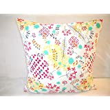 Flower Pillow Cover Garden Turquoise Red Yellow Black On White Background
