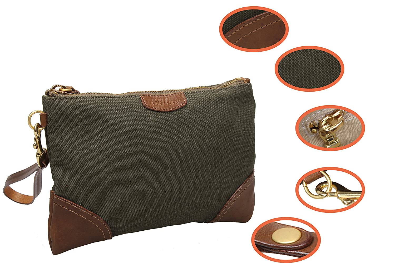 Amazon.com: Iblue para mujer lona Wristlet cartera del bolso ...