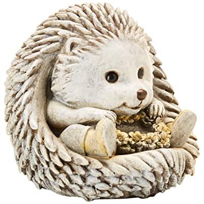Hedgehog Flower Wreath in Rain Boots 7 x 8.5 inch Resin Stone Garden Statue Figurine : Garden & Outdoor