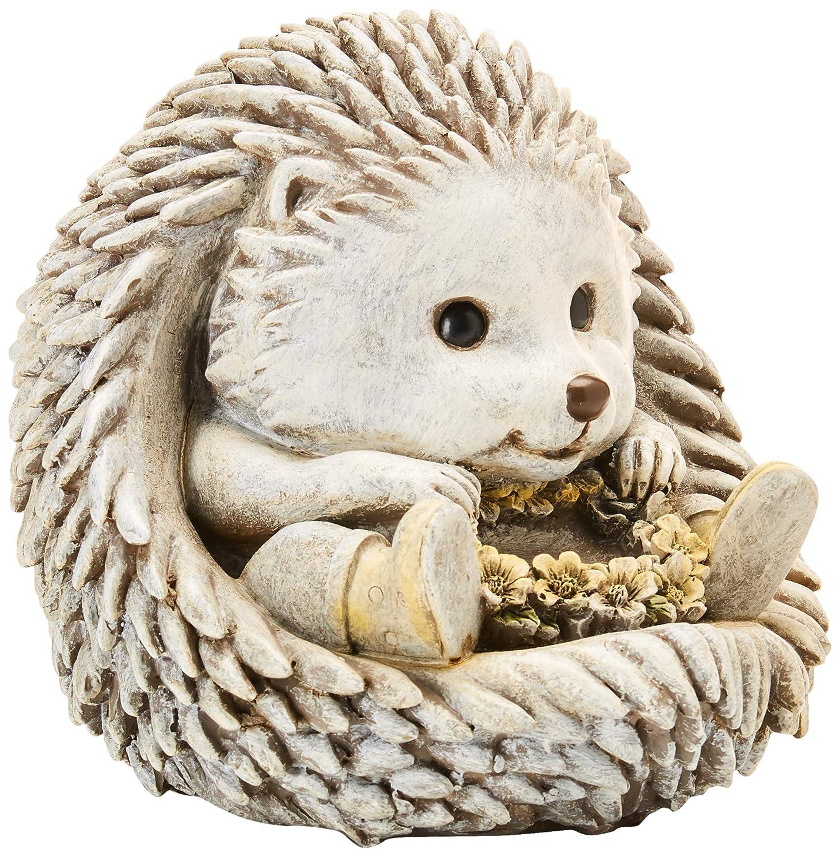 Hedgehog Flower Wreath in Rain Boots 7 x 8.5 inch Resin Stone Garden Statue Figurine