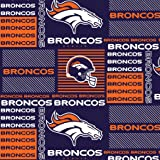 "NFL Denver Broncos Football 60"" Wide Licensed Cotton Block Print Fabric"