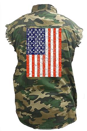 d58864a5892 SHORE TRENDZ Men s Camo Sleeveless Denim Shirt Distressed USA Flag Denim  Vest  (Medium)