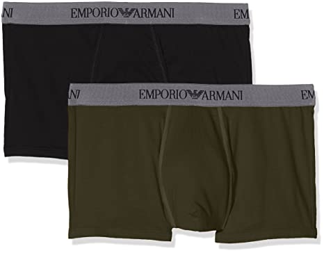 09463ba0 Emporio Armani Men's Pure Cotton 2 Pack Trunk, Black/Military, ...