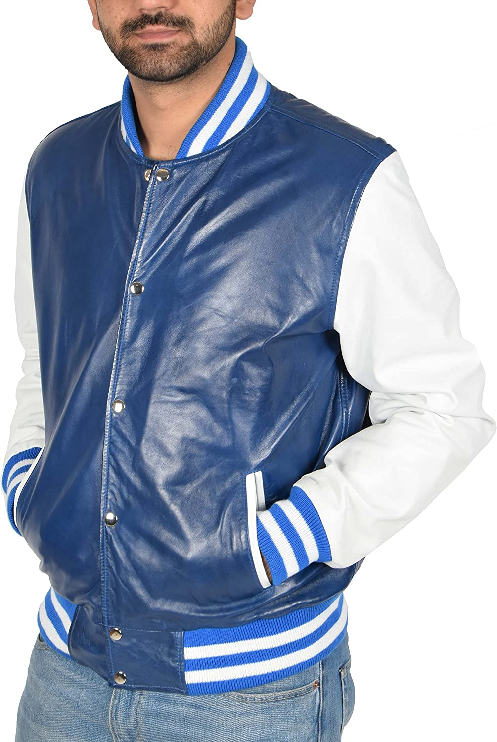 Mens Real Leather Varsity College Boy Jacket Bomber Baseball Style Garry Blue